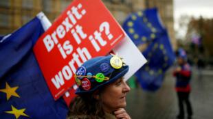 Manifestantes contra el Brexit protestan frente a las Casas del Parlamento en Londres, Reino Unido, el 3 de diciembre de 2018.