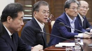 Le président sud-coréen Moon Jae-in, photographié lors d'une réunion organisée à Séoul, le 22 août 2019.