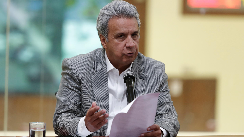 En la imagen, el presidente ecuatoriano, Lenín Moreno, pide responsabilidad para frenar los contagios en Quito. El 30 de junio de 2020. Foto de archivo.