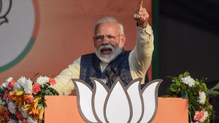 India's Prime Minister and Bharatiya Janata Party (BJP) leader Narendra Modi at a campaign rally in New Delhi on Feb. 3, 2020