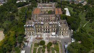 Aerial view of Brazil's National Museum taken as journalists make their first visit since the building burnt down last September, in Rio de Janeiro