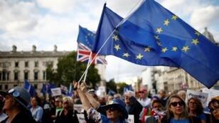 متظاهرون مناهضون لخروج بريطانيا من الاتحاد الأوروبي يتظاهرون أمام البرلمان في لندن، 4 سبتمبر/ أيلول 2019.