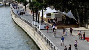 La voie Georges Pompidou ouverte aux piétons, en septembre 2016, à Paris.