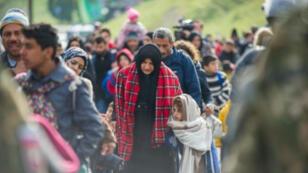 Des migrants et réfugiés marchent vers la frontière entre la Slovénie et l'Autriche, le 25 octobre 2015 à Sentilj, en Slovénie.
