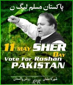 Image of a Nawaz Sharif campaign poster. The PML-N party symbol features at the bottom.