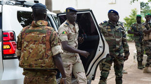 Junta spokesperson Ismael Wague pictured at Kati military base, outside Bamako, on August 26, 2020.