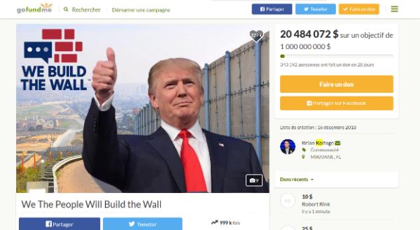 Le page d'acceuil de la campagne de crowdfunding en faveur du mur de Donald Trump
