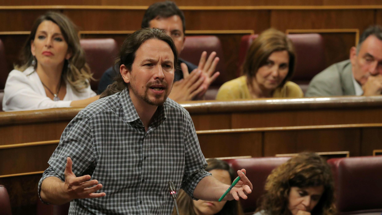 El líder de Unidas Podemos, Pablo Iglesias, habla durante el debate de investidura en el Parlamento en Madrid, España, el 22 de julio de 2019.