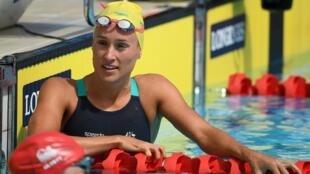 La nadadora australiana Jessica Hansen, tras una ronda clasificatoria de los 50 metros espalda de los Juegos de la Commonwealth el 5 de abril de 2018 en Gold Coast, Australia