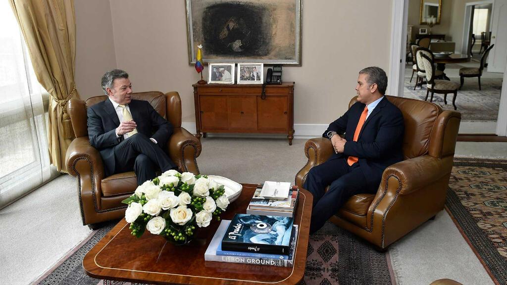 El presidente Juan Manuel Santos recibió a Iván Duque, ganador de la segunda vuelta presidencial en el Palacio de Nariño. Junio 21 de 2018.