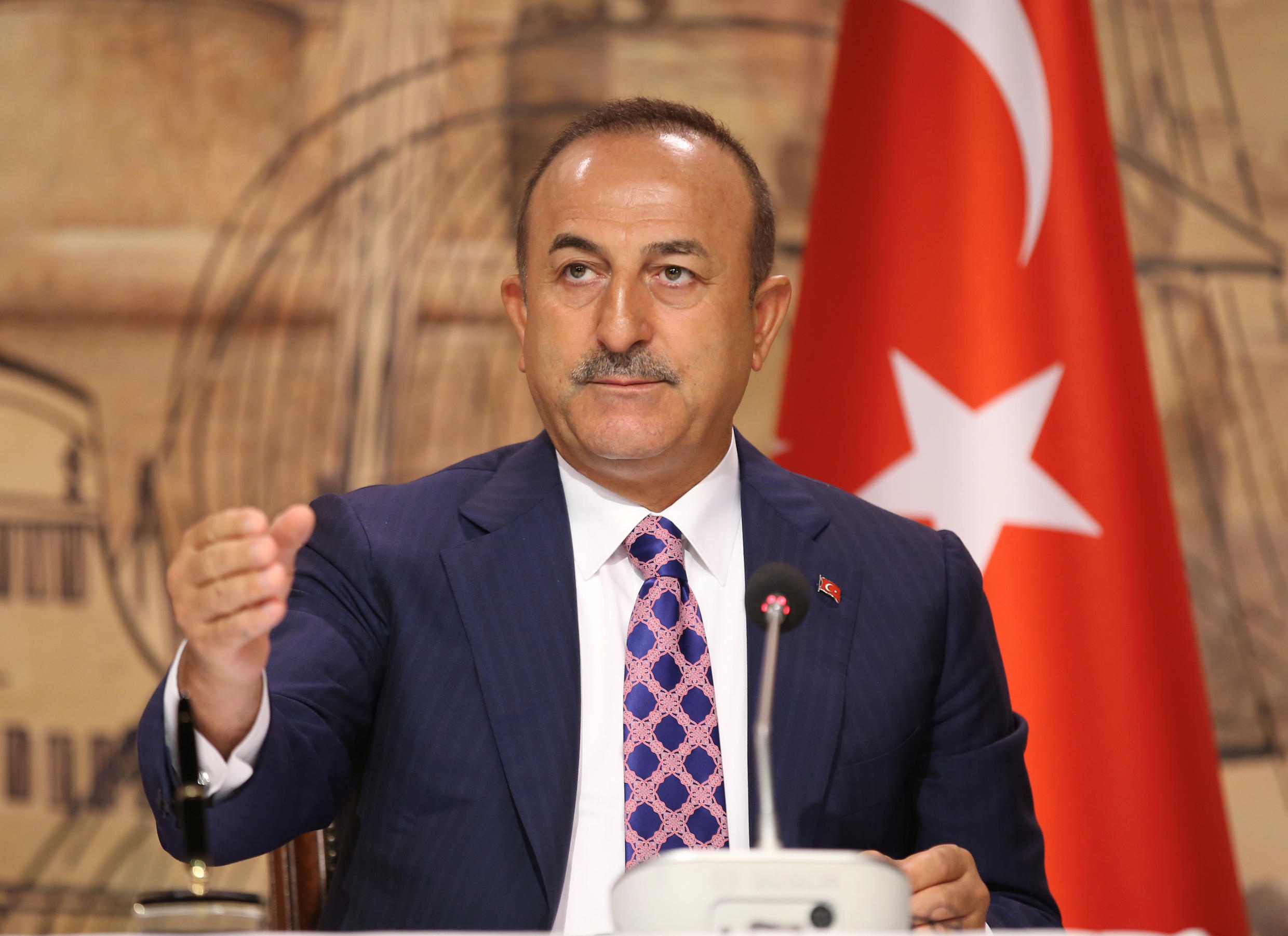 Turkish Foreign Minister Mevlut Cavusoglu during a news conference in Istanbul, Turkey, on June 15, 2020.