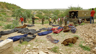Archival picture shows victims of an attack on quarry workers near the Kenyan town of Mandera in December 2017