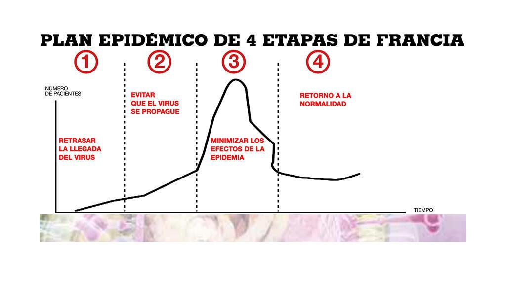 Las cuatro etapas del proceso de gestión de epidemias en Francia.