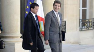 Manuel Valls et Arnaud Montebourg à l'Élysée en octobre 2012.
