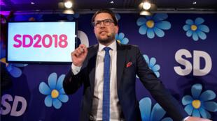 El líder de los Demócratas de Suecia, Jimmie Akesson, en la sede de su partido en Estocolmo. 9 de septiembre de 2018.