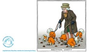 Le dessinateur néerlandais Joep Bertrams représente la reine Elizabeth II tenant en laisse des corgis indisciplinés.