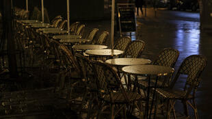 An empty terrace in Paris on October 5, 2020.