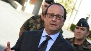 Le président français François Hollande, jeudi 11 août 2016, à l'école de gendarmerie de Tulle.