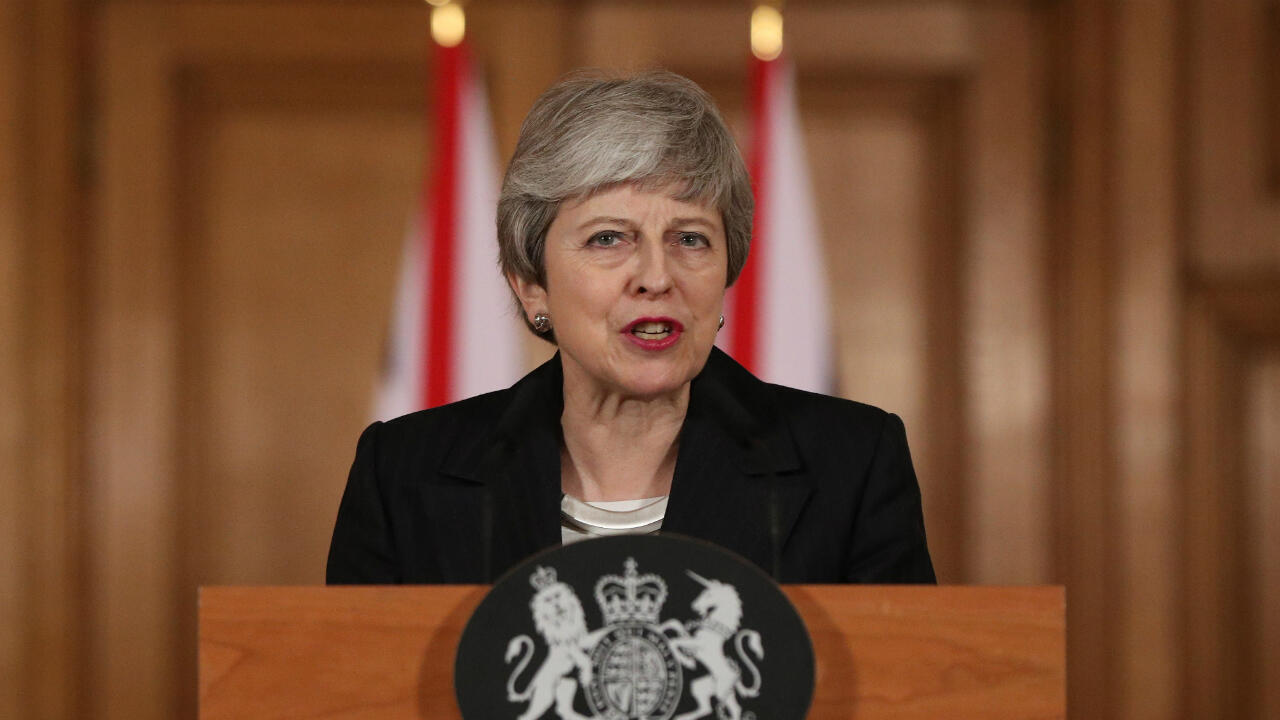 La primera ministra británica, Theresa May, da un discurso después de pedir a la Unión Europea una extensión de la fecha de salida del bloque. Londres, Reino Unido, el 20 de marzo de 2019.