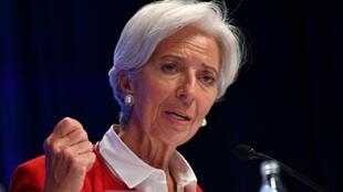 (File photo) European Central Bank head Christine Lagarde speaks at a news conference during her term as IMF chief in April 2019.
