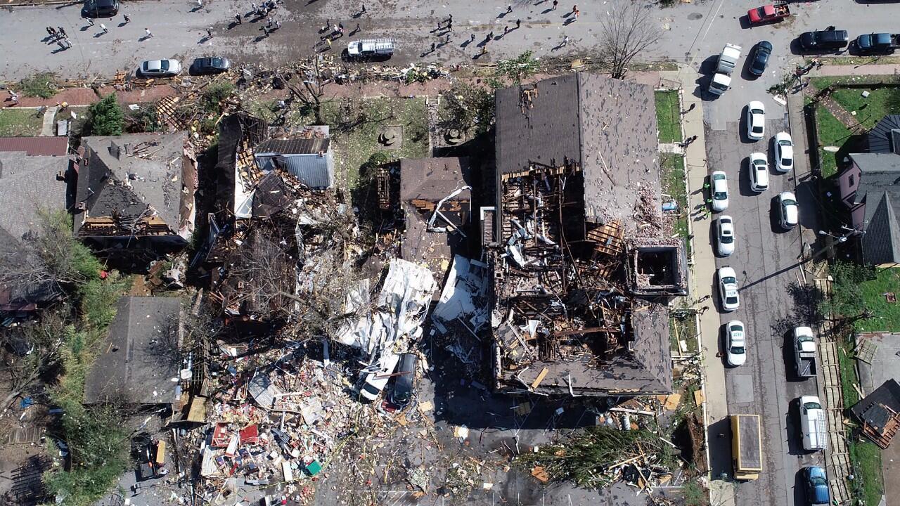 Los daños se ven en una foto aérea después de que un tornado tocara tierra en el este de Nashville, Tennessee, EE.UU. el 3 de marzo de 2020.