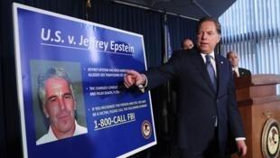 Le procureur de Manhattan, Geoffrey Berman, a annoncé l'inculpation de Jeffrey Epstein à New York, le 8 juillet.