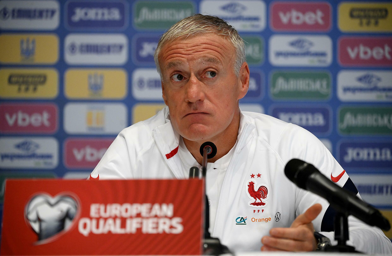Le sélectionneur Didier Deschamps, lors d'une conférence de presse, le 3 septembre 2021 à Kiev, avant le match contre l'Ukraine, comptant pour les qualifications du Mondial-2022 au Qatar