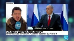 2020-01-22 08:07 Macron au Proche-Orient : Rencontres avec les chefs d'Etat d'Israël et Palestine, Netanyahou et Abbas