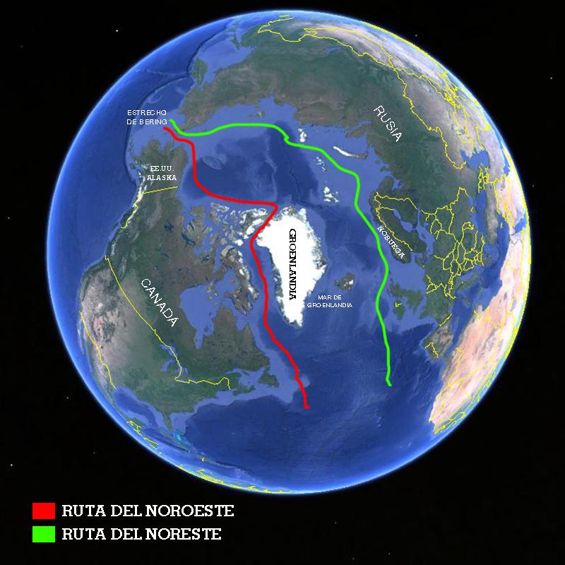 En verde la futura ruta del noreste, que está llamada a reemplazar el paso por el canal de Suez con su ruta por la costa norte rusa. En rojo la ruta noroeste, que cumplirá la función de dar alternativa al canal de Panamá.