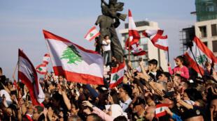 تجمع في وسط بيروت بمناسبة الذكرى الـ76 لاستقلال لبنان، 22 نوفمبر/تشرين الثاني 2019