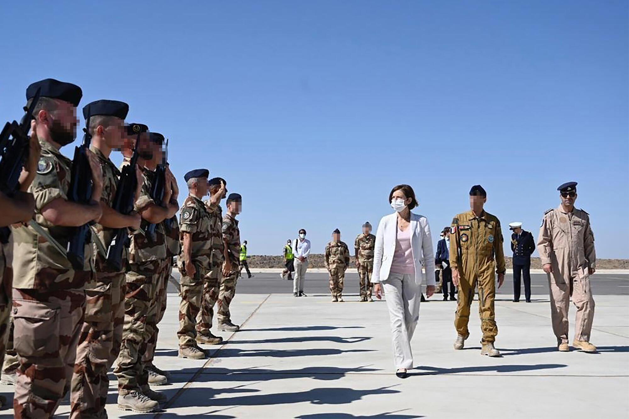 La ministre des Armées Florence Parly, en visite sur une base militaire en Jordanie, le 28 août.
