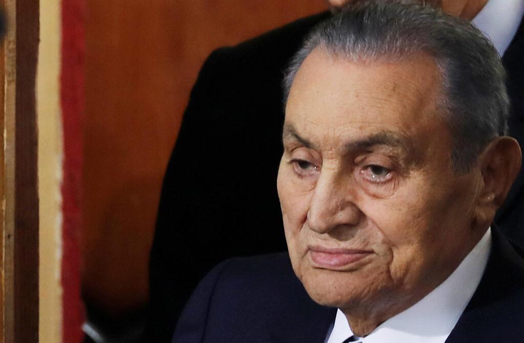 Hosni Mubarak at the trial of Mohamed Morsi on December 26, 2018.