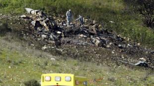 حطام المقاتلة الإسرائيلية إف-16 في 10 شباط/فبراير 2018.