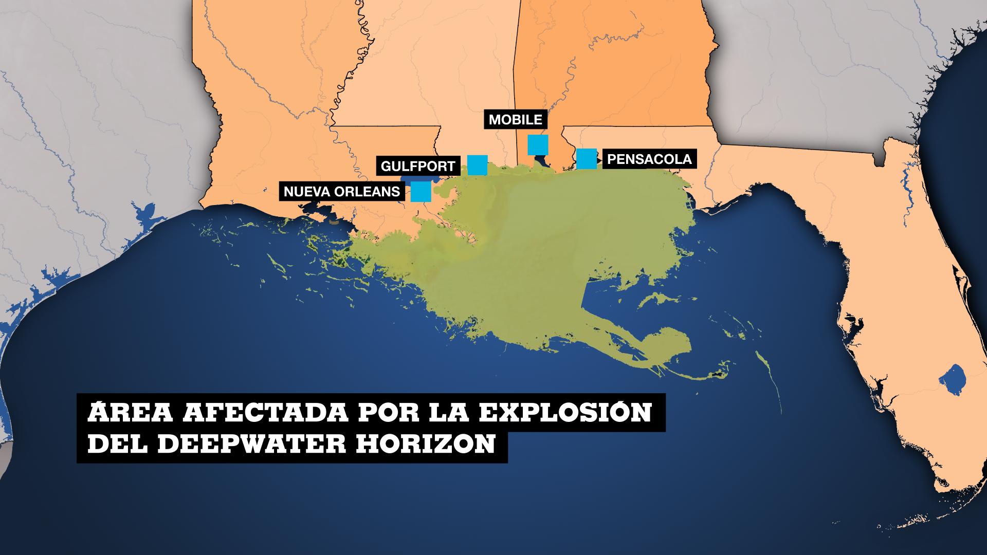 Mapa de la región del Golfo de México afectada por el derrame de petróleo de BP