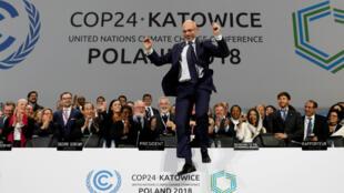 Le président polonais de la COP24, Michal Kurtyka, le 14décembre2018, à Katowice, en Pologne.