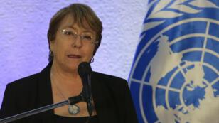 La Haut-Commissaire de l'ONU pour les droits humains, Michelle Bachelet, lors d'une conférence de presse, à Caracas, le 21 juin 2019.