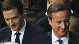 Le ministre des Finances George Osborne et le chef du gouvernement David Cameron, le 27 mai 2015