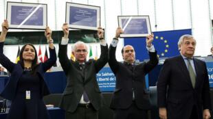 El Parlamento Europeo concede el premio Sájarov a la oposición democrática de Venezuela el 13 de diciembre 2017