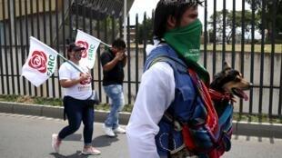 Indígenas y líderes sociales marchando en Cali, Colombia. 30 de junio de 2020.