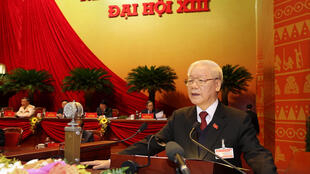 Vietnam President and Communist Party General Secretary Nguyen Phu Trong addressing the opening session of the 13th National Congress