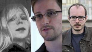 Les lanceurs d'alertes Chelsea Manning (g), Edward Snowden et Antoine Deltour (d).