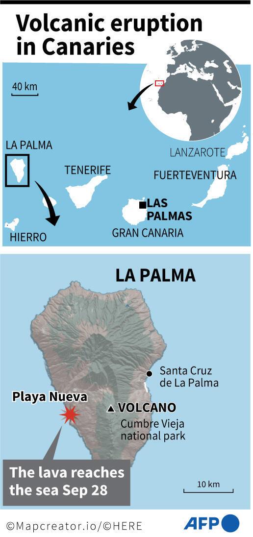 Carte montrant où la lave du volcan Cumbre Vieja a atteint la mer sur l'île canarienne de La Palma