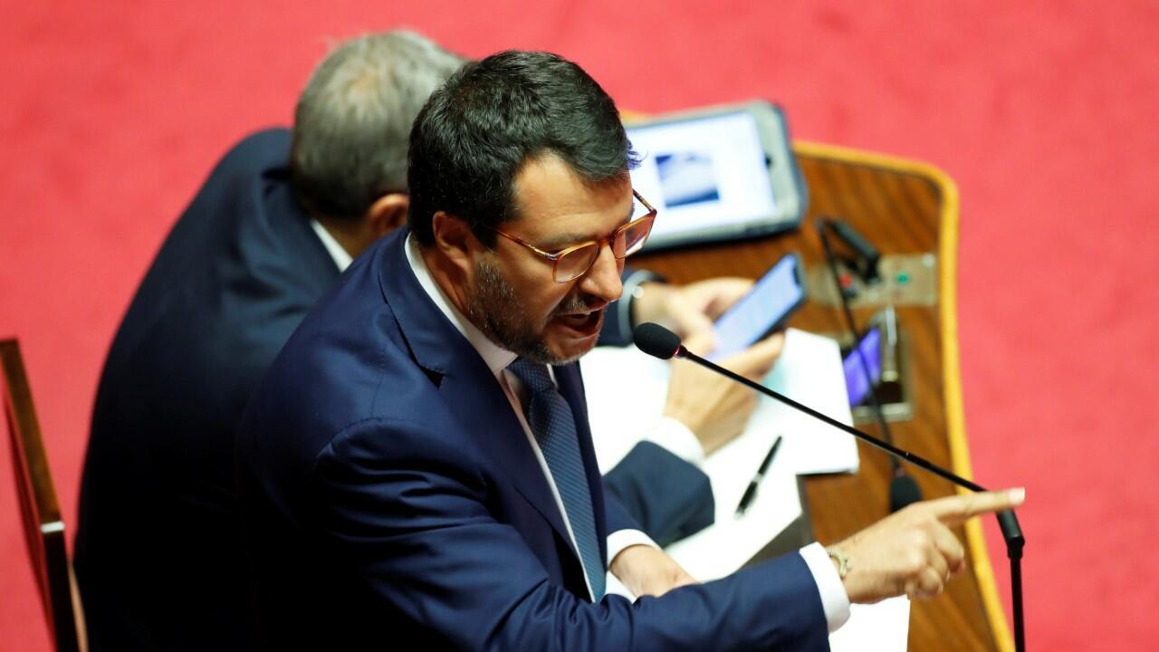 Leader of Italy's far-right League party Matteo Salvini addresses the upper house of parliament in Rome, Italy, July 30, 2020.