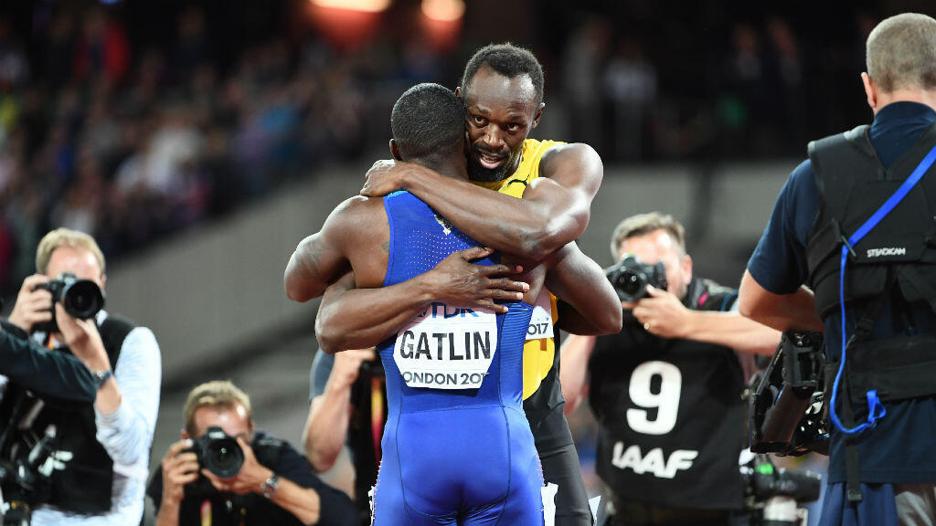 Le sprinter jamaïcain Usain Bolt et l'Américain Justin Gatlin à Londres, le 5 août 2017.