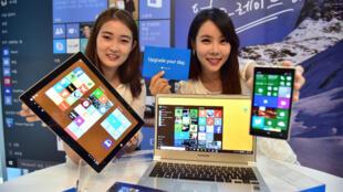 Présentation de Windows 10 à Séoul, le 29 juillet 2015.