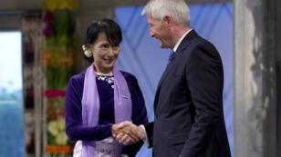 L'ex-dissidente birmane Aung San Suu Kyi lors de la remise du prix Nobel de la paix à Oslo, le 16 juin 2012.