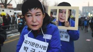 Manifestation à Séoul de centaines de milliers de Coréens, appelant à la destitution de la présidente Park Geun-hye, le 3 décembre 2016.