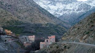 Une photographie, prise le 18 décembre 2018, montre les montagnes proches du village touristique d'Imlil, dans le Haut Atlas.