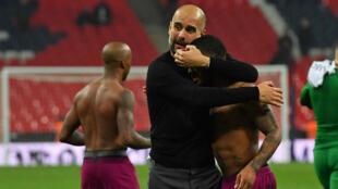 L'entraîneur de Manchester City Pep Guardiola, après le match de son équipe contre Tottenham, samedi 14 avril.