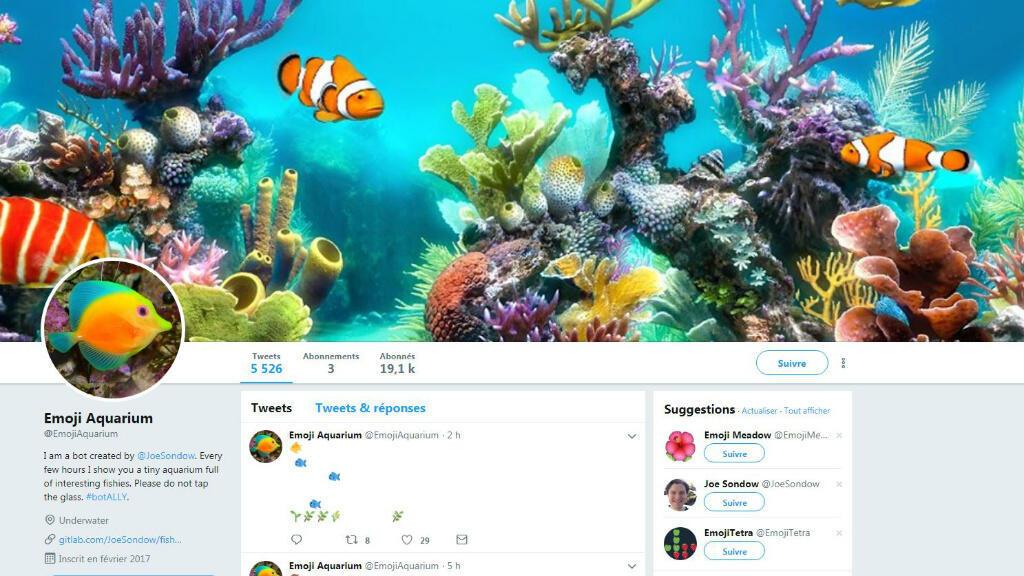 """Capture d'écran du compte Twitter """"Emoji Aquarium"""""""